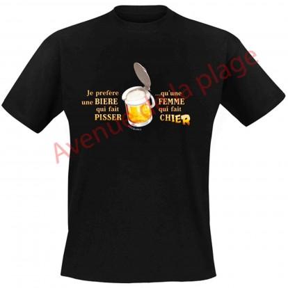 """T-shirt humoristique """"Bière qui fait pisser"""""""