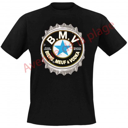 """T-shirt humoristique """"BMV : Bière, Meuf, Vodka"""""""