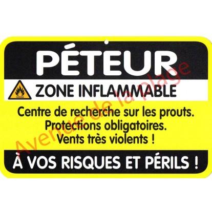 """Plaque de porte Danger """"Péteur"""""""