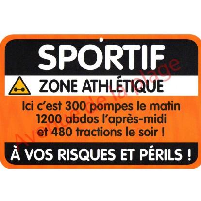 "Plaque de porte Danger ""Sportif"""