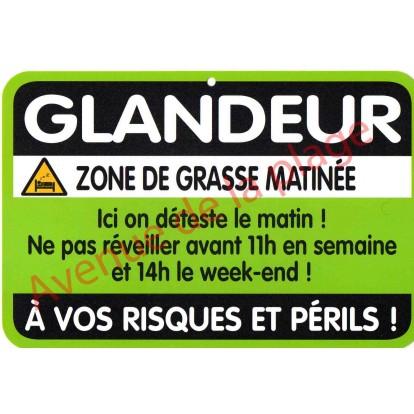 """Plaque de porte Danger """"Glandeur"""""""