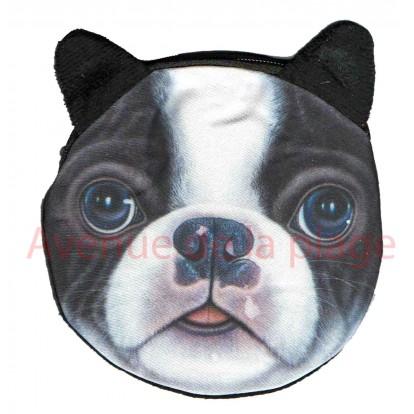Porte-monnaie tête de chien Bouledogue Français
