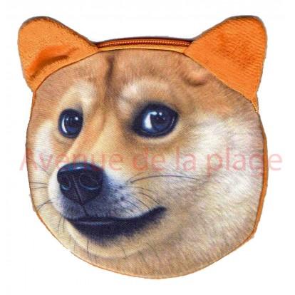 Porte-monnaie tête de chien Spitz
