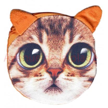 Porte-monnaie tête de Chat roux à grand yeux.