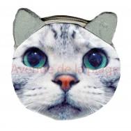 Porte-monnaie tête de Chat gris
