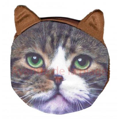 Porte-monnaie tête de Chat tigré