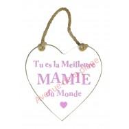 """Coeur en bois """"Mamie"""" à accrocher"""