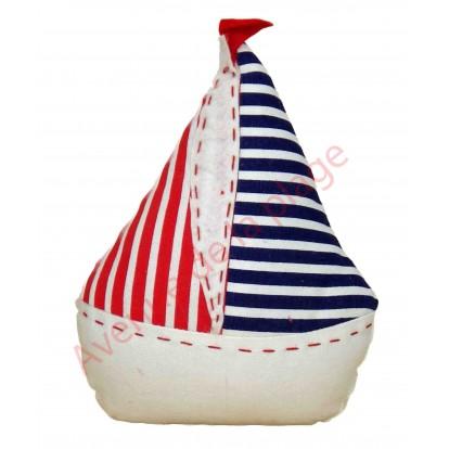 Bloque porte voilier bleu,blanc et rouge, modèle B.