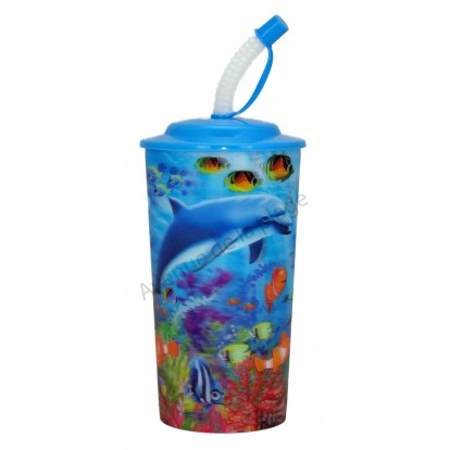 Verre avec paille dauphin 3D, bleu.