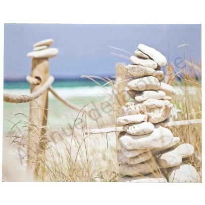 Toile imprimée : La plage et tour de galets