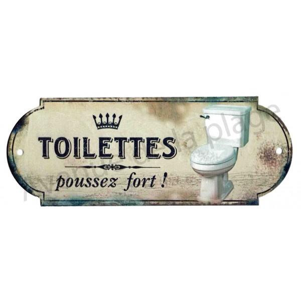 Plaque de porte toilettes poussez fort deco wc pas cher for Plaque de porte decorative