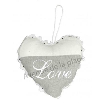 Coeur en tissus à suspendre Love, gris et blanc, modèle A.