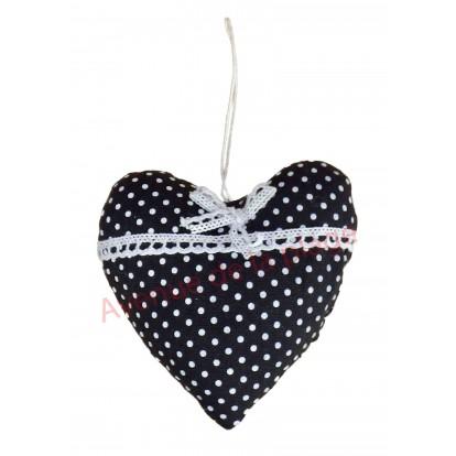 Coeur en tissus à suspendre noir à pois blancs, modèle B.