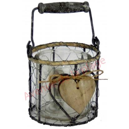 Photophore coeur panier en métal