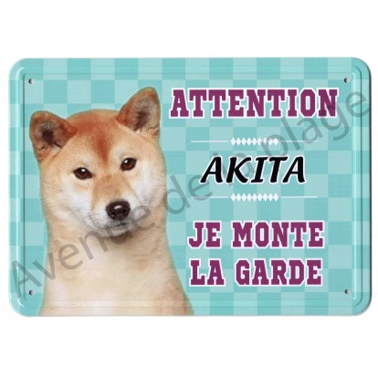 Pancarte métal Attention au chien - Akita