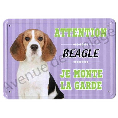 Pancarte métal Attention au chien - Beagle