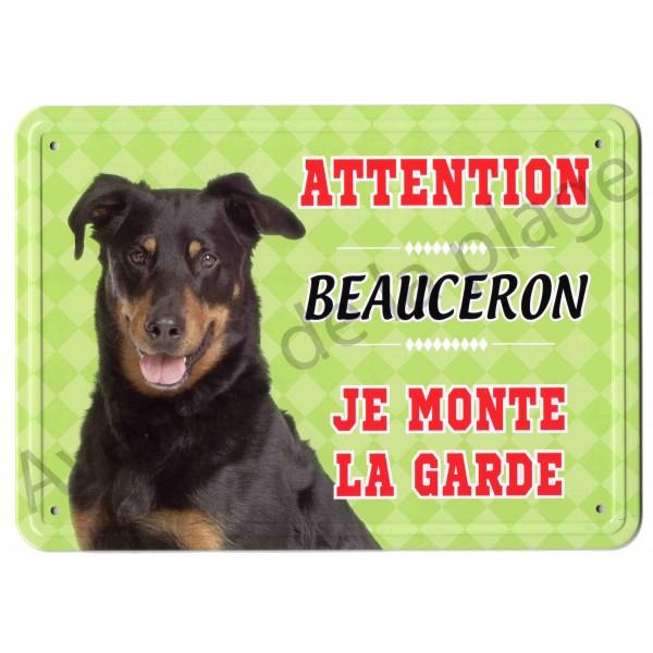 pancarte m tal attention au chien beauceron plaque signal tique. Black Bedroom Furniture Sets. Home Design Ideas