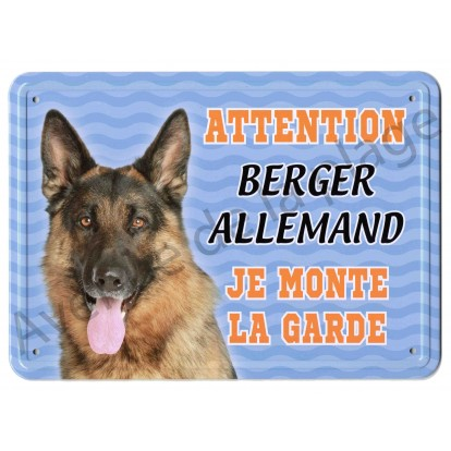 Pancarte métal Attention au chien - Berger Allemand - Fond bleu.