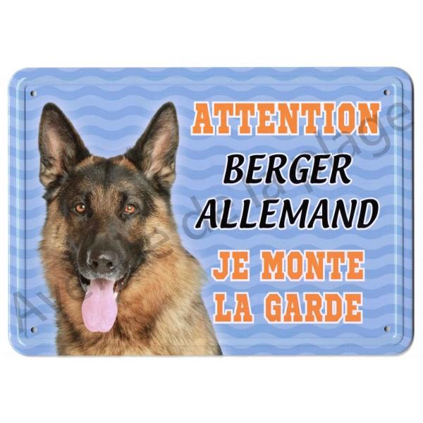 Pancarte métal Attention au chien - Berger Allemand