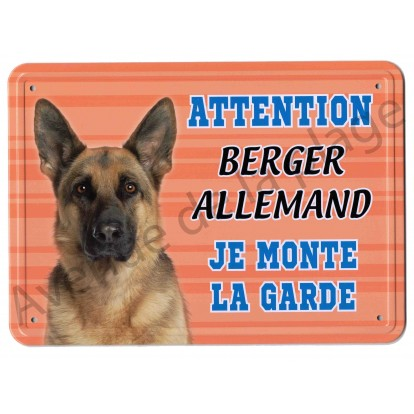 Pancarte métal Attention au chien - Berger Allemand - Fond orange.