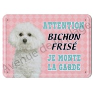 Pancarte métal Attention au chien - Bichon Frisé