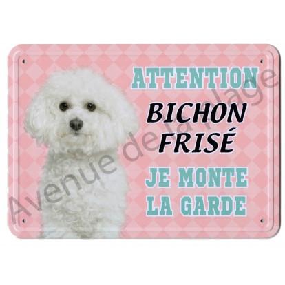 Pancarte métal Attention au chien - Bichon Frisé