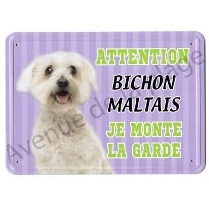 Pancarte métal Attention au chien - Bichon Maltais