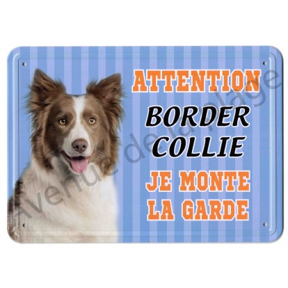 Pancarte métal Attention au chien - Border Collie, bleu.