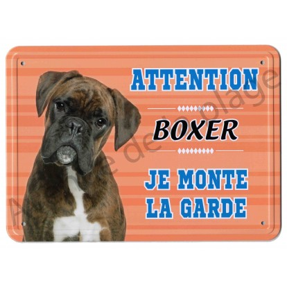 Pancarte métal Attention au chien - Boxer, orange.