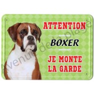 Pancarte métal Attention au chien - Boxer