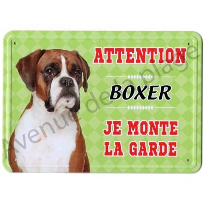 Pancarte métal Attention au chien - Boxer, vert.