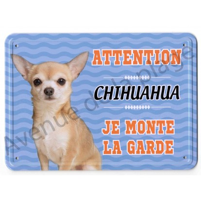 Pancarte métal Attention au chien - Chihuahua