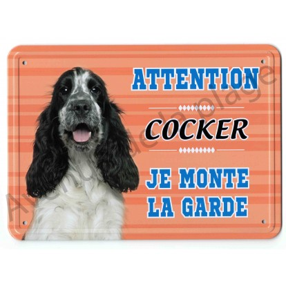 Pancarte métal Attention au chien - Cocker noir et blanc