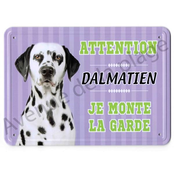 pancarte m tal attention au chien dalmatien. Black Bedroom Furniture Sets. Home Design Ideas