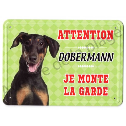 Pancarte métal Attention au chien - Dobermann