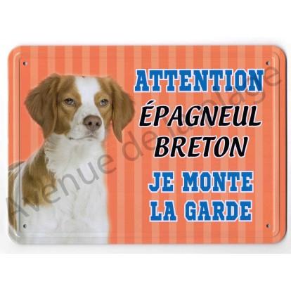 Pancarte métal Attention au chien - Épagneul Breton