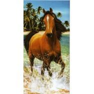 """Serviette de plage """"Cheval qui court dans l'eau"""""""