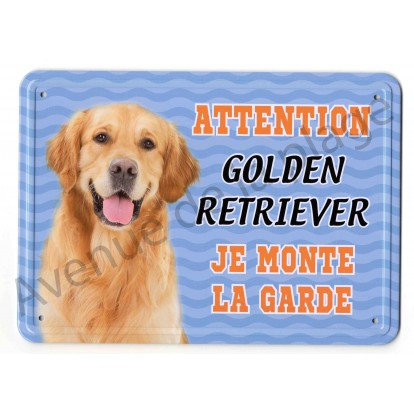 Pancarte métal Attention au chien bleue - Golden Retriever