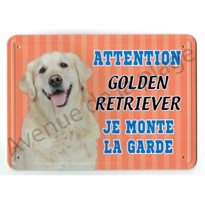 Pancarte métal Attention au chien orange - Golden Retriever