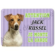 Pancarte métal Attention au chien - Jack Russel