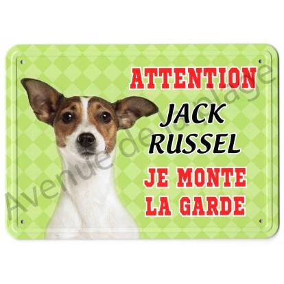 Pancarte métal Attention au chien vert - Jack Russel