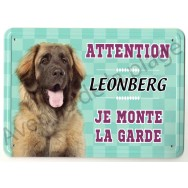 Pancarte métal Attention au chien - Leonberg