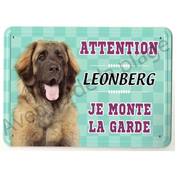 pancarte m tal attention au chien leonberg. Black Bedroom Furniture Sets. Home Design Ideas