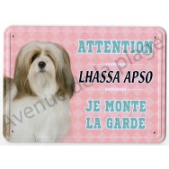 Pancarte métal Attention au chien - Lhassa Apso