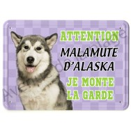 Pancarte métal Attention au chien - Malamute d'Alaska