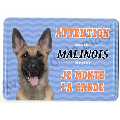 Pancarte métal Attention au chien - Malinois
