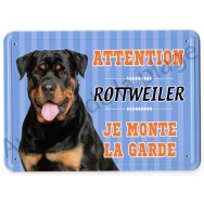 Pancarte métal Attention au chien - Rottweiler