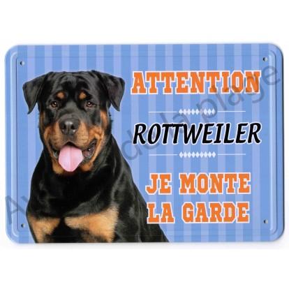 Pancarte métal Attention au chien - Rottweiler