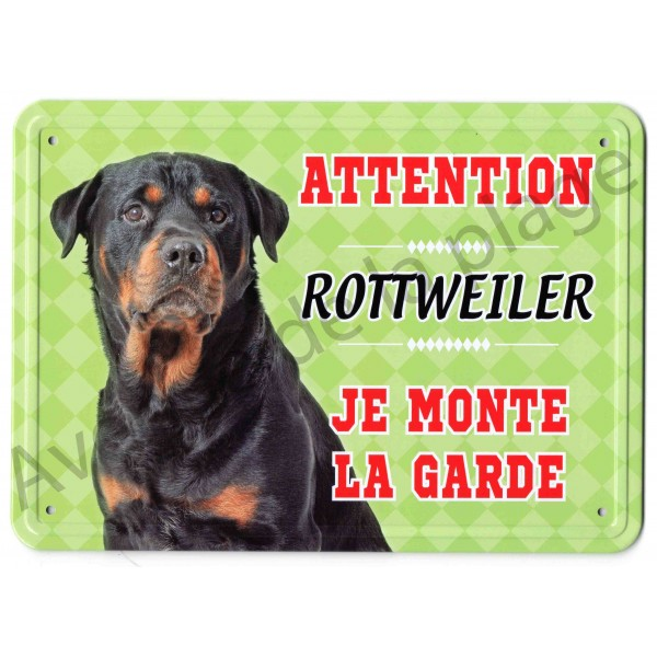 pancarte m tal attention au chien rottweiler. Black Bedroom Furniture Sets. Home Design Ideas