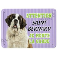 Pancarte métal Attention au chien - Saint Bernard